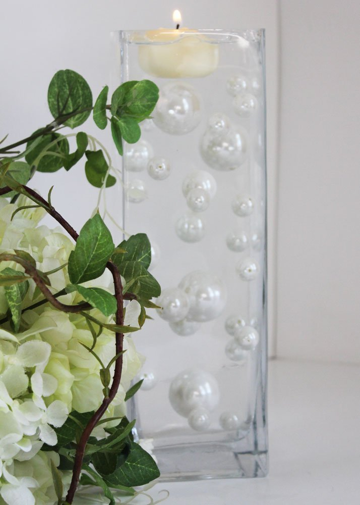 Easy Elegance 34 ALL WHITE Pearl Beads w//12 grams Jelly BeadZ Water bead gel pearls Wedding Centerpieces and Decorations LAW