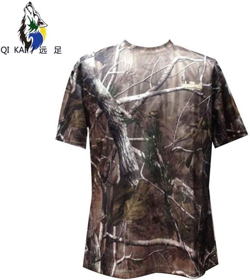 QIKAI Ropa táctica Caza de los Hombres Pesca de Secado rápido Respiración Táctica Manga Corta Camuflaje biónico al Aire Libre Camiseta Corta A-S: Amazon.es: Hogar