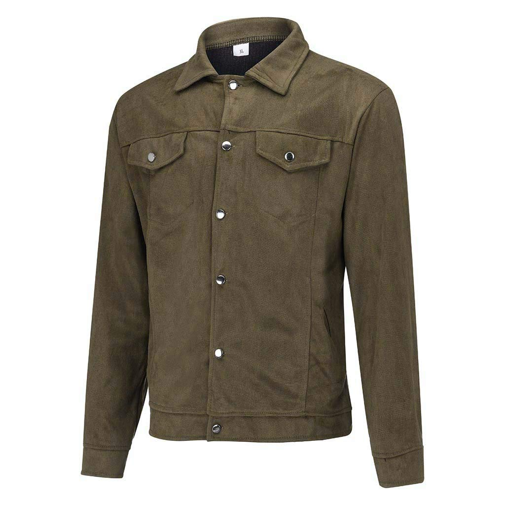 Men's Blouse Autumn Winter Jacket Fashion Military Outwear Comfortable Breathable Tops Long Sleeves Pockets Coat(Green,L) by WatFY