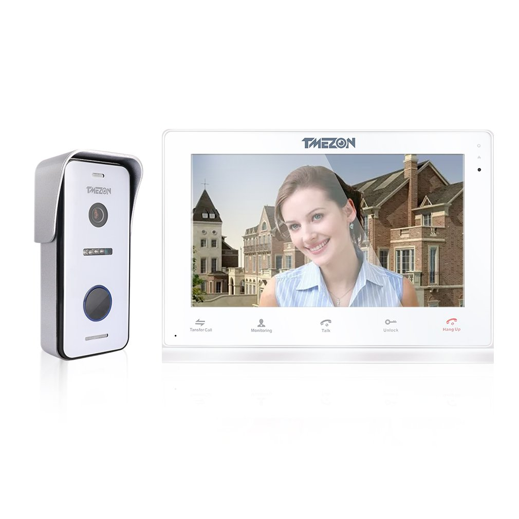 TMEZON 10'' Wireless/Wired Video Door Phone Doorbell Intercom Montion Detection Entry System with 1x720P AHD Wired Camera Night Vision,Remote unlocking,Talking,Recording,Snapshot
