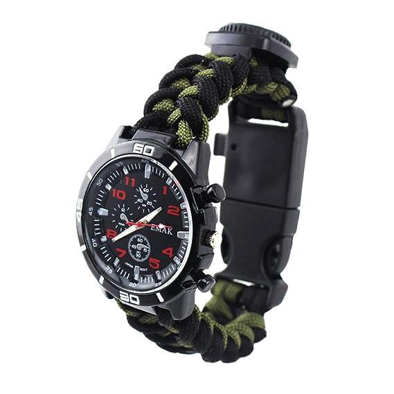 Supervivencia al aire libre Reloj Militar Relojes Hombre Sub-Diales Decorativos Brújula Termómetro Tejidas a
