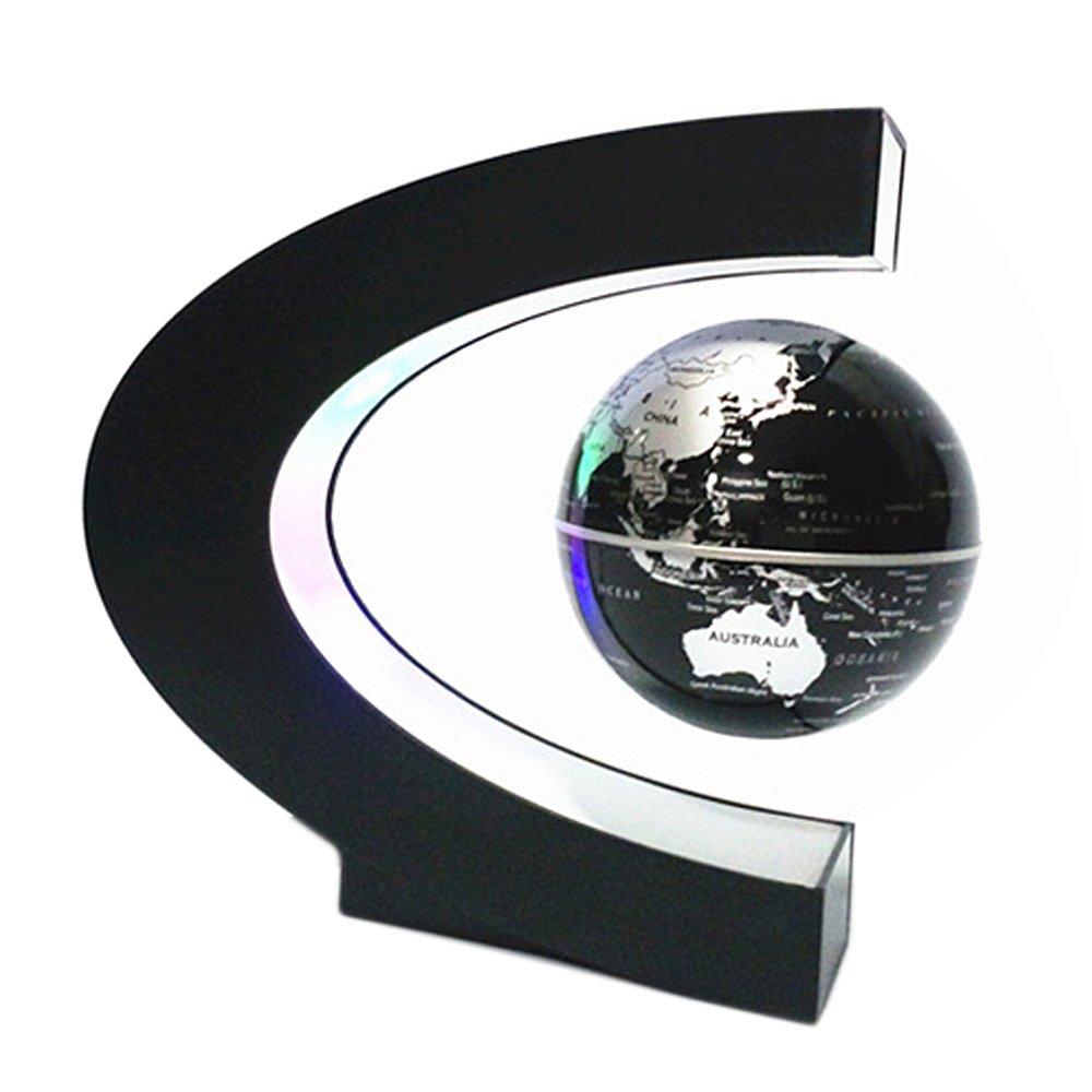 Fluttuante Globo [4 Pollici], Beetest® Forma C Globo Fluttuante Levitazione Magnetica con LED Luci Globo di Terra Rotante di Base del Pianeta per Decorazione Scrivania Regalo - (Blu)