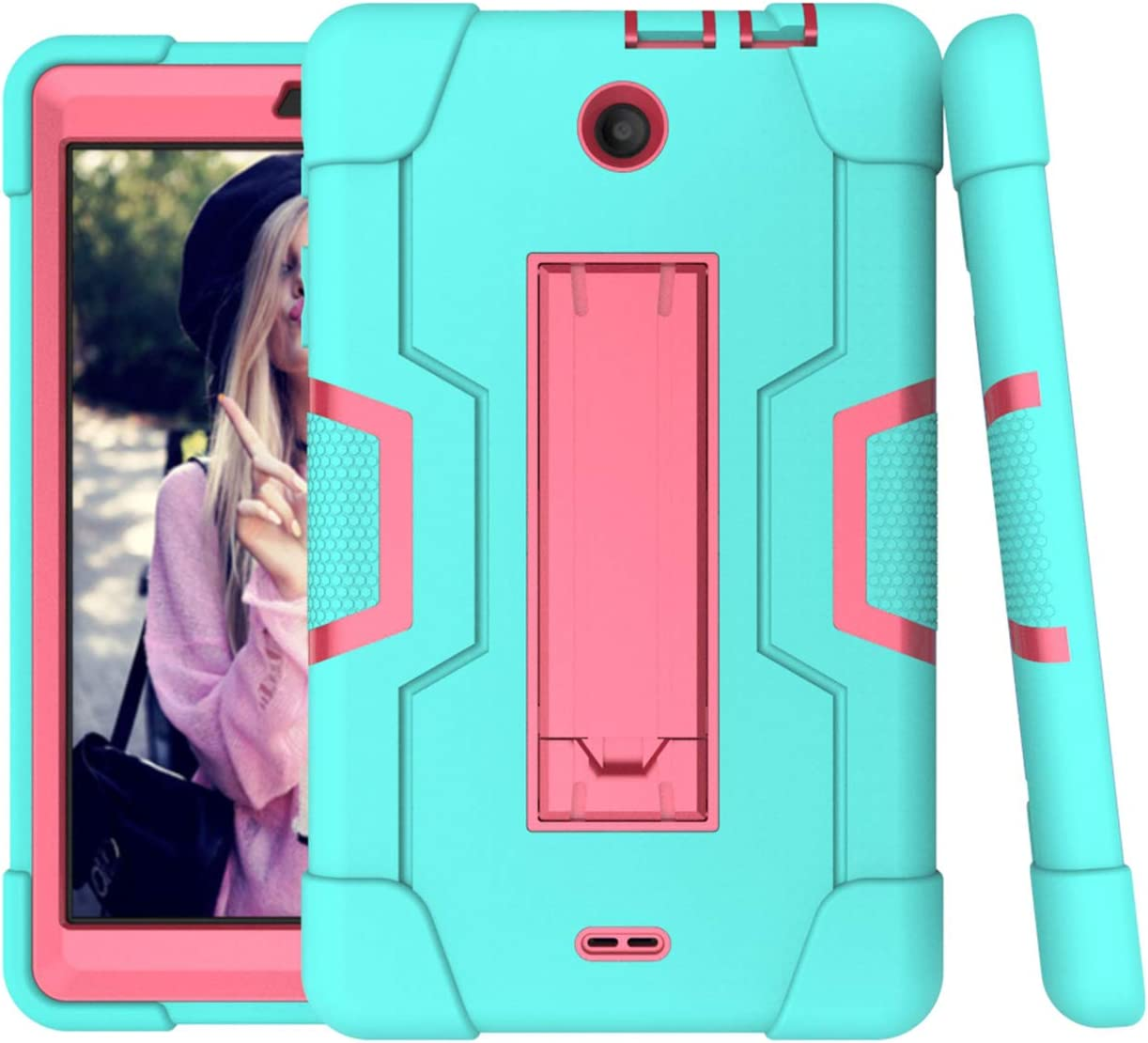 For Alcatel 3T 8.0 Case,Alcatel Joy Tab 8.0 Case,Cherrry Heavy Duty Rugged Hybrid Shockproof Full-Body Protective Case Build in Kickstand W/Screen Protector Film/Stylus Pen(Green/Pink)