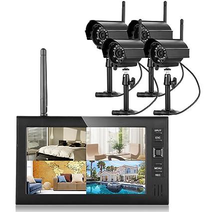 FLOUREON inalámbrico de alta calidad 4 canales 2,4 gHz CCTV Monitor LCD de visión