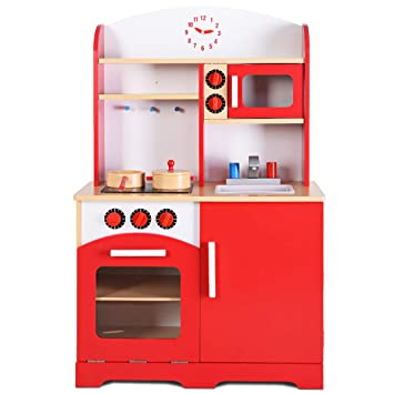 Buy Giantex Wood Kitchen Play Set For Kids Cooking Pretend Toddler Playset Red Online At Low Prices In India Amazon In