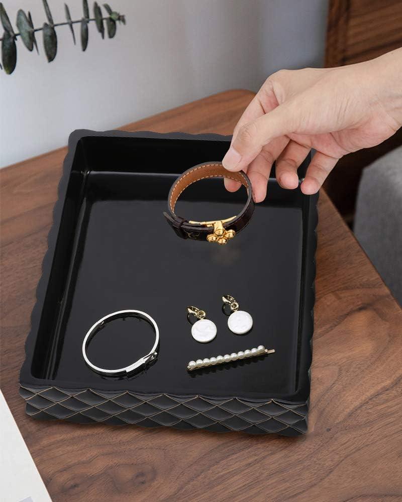 Lewondr 9,7 Zoll Tablett Harz Marmor Tablett Deko Tablett Make Up Kosmetik Organizer Jewelry Organizer Tisch Tablett f/ür Seife Kerzen Handt/ücher Schmuck Waschbecken Aufbewahrung Marmorrosa
