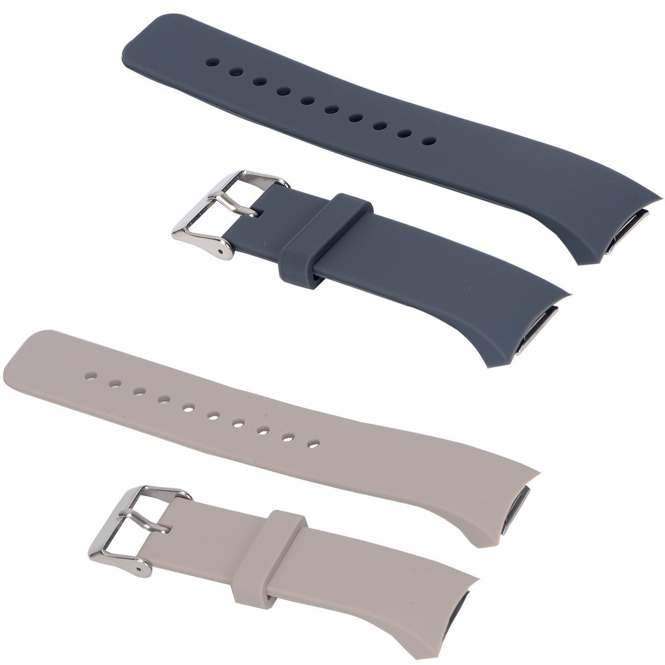 E ECSEM 2pcs Small Bands for Gear Fit2 Pro Watch, Replacement Soft Silicone Bands Straps for Samsung Gear Fit2 Pro Smart Fitness Band and Samsung Gear Fit2 Smartwatch : Khaki+Grey