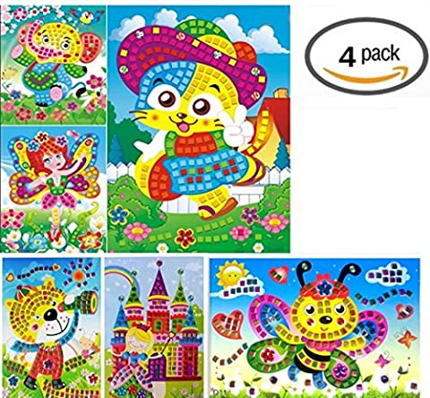 Vytung Mosaic Sticker Art Kits for Kids Animals Elephant Cat Butterfly Flower(Pack of 4) (Scratch And Sniff Stickers Bulk)