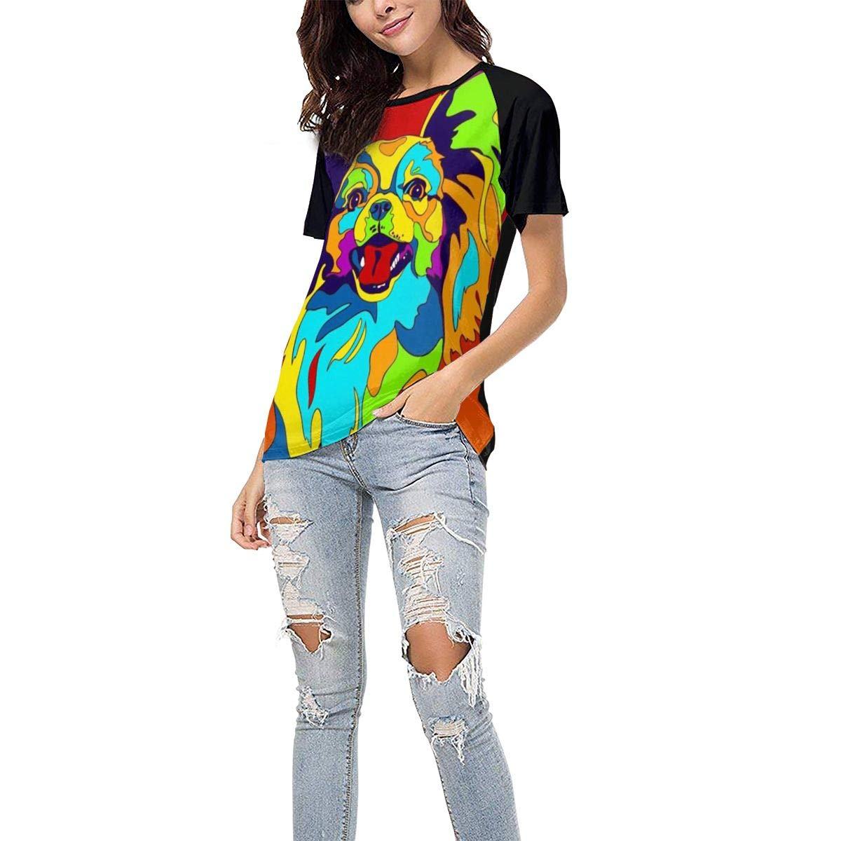 QWXZC Multi-Color Papillon Womens Short Sleeves Baseball Tee Casual Raglan Shirt Baseball Raglan T-Shirt.Black.