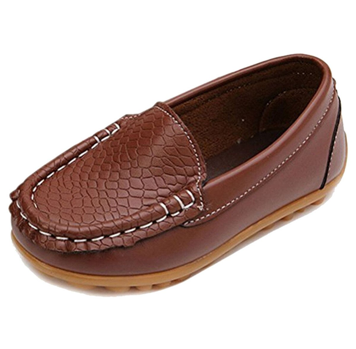 Toddler Boys Girls Leather Loafers Slip On Boat Dress Shoes Flat (5 M US Toddler, Brown)