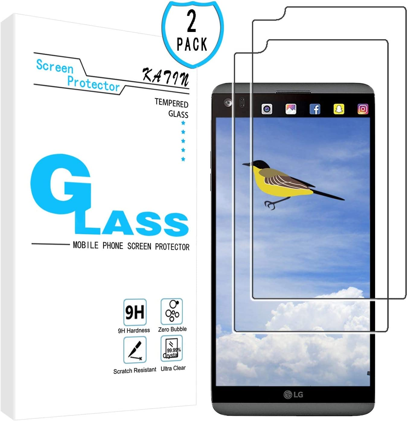 KATIN LG V20 Screen Protector - [2-Pack] Tempered Glass for LG V20 Bubble Free 9H Hardness Easy to Install with Lifetime Replacement Warranty