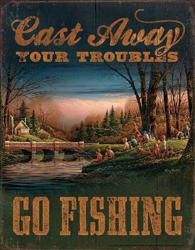 Go Fishing Tin Sign by Terry Redlin
