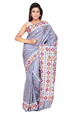 Gujrati Kutch Stitch Mirror Work Silk Saree With Blouse Piece In