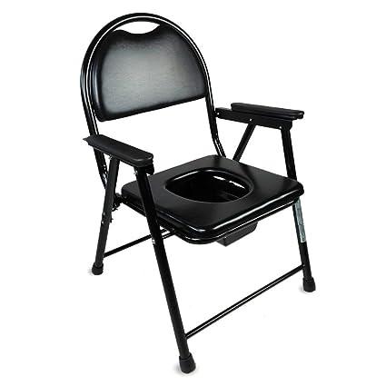Mobiclinic Silla Inodoro | Plegable | WC | Negro | Acero Cromado | Portátil | Modelo Guadalquivir