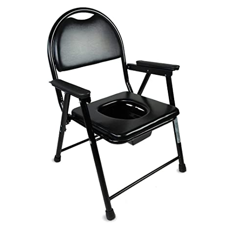 Mobiclinic Foldable and Height-Adjustable Bedside Commode Model: Puente Chrome Steel WC Chair
