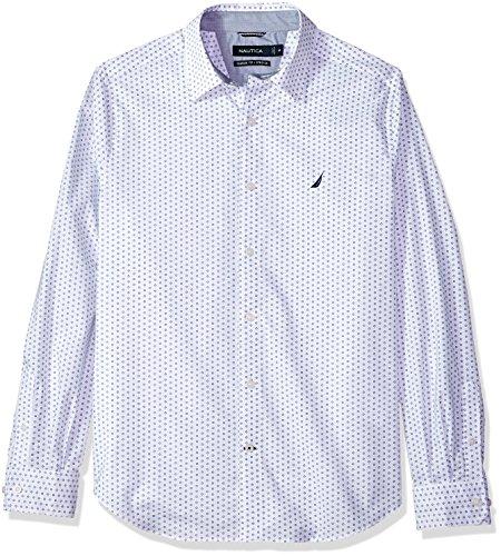 Nautica Mens Ls Wrinkle Resistant Stretch Poplin Print Button Down Shirt