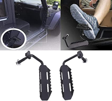 Foot Rest Black Metal A Pair of Exterior Foot Pegs for 2007-2017 Jeep Wrangler JK JKU Unlimited Rubicon Sahara X Sport Accessories Parts