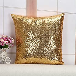 Decorative Glitzy Sequin & Comfy Satin Throw Pillow Cover Square Pillow Case, Hidden Zipper Design, 1 Cover Pack Only 16 Inch (Gold)