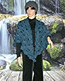 100% Merino Wool Crochet Shawl in Virus Pattern Bobby Blue ~ Ready to Ship