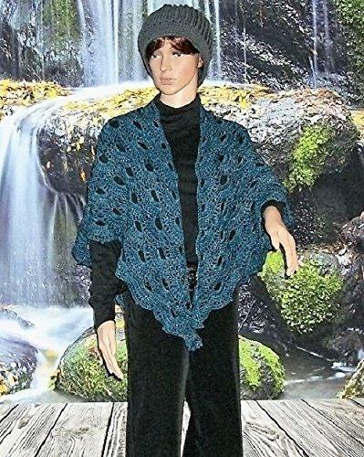 100% Merino Wool Crochet Shawl in Virus Pattern Bobby Blue ~ Ready to Ship by Robin's World