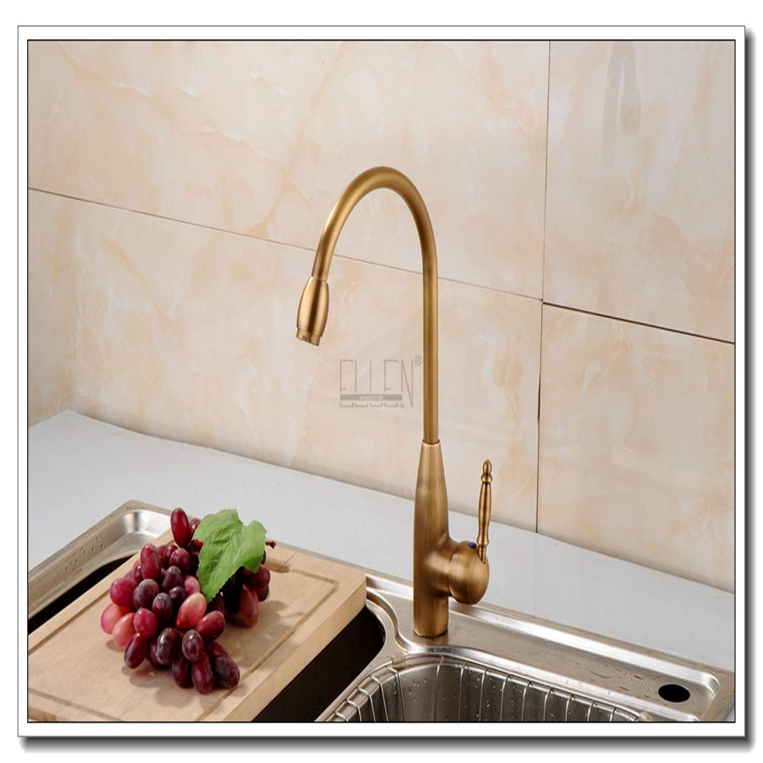 Retro Plated Hot and Cold Faucet Retrokitchen Faucets Antique Bronze Faucet for Kitchen Mixer Tap