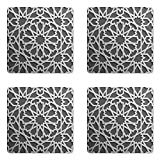 Ambesonne Moroccan Coaster Set Four, Historical Moroccan Heraldic Empire Design Interlace Form Mix Star Flowers Print, Square Hardboard Gloss Coasters Drinks, Grey