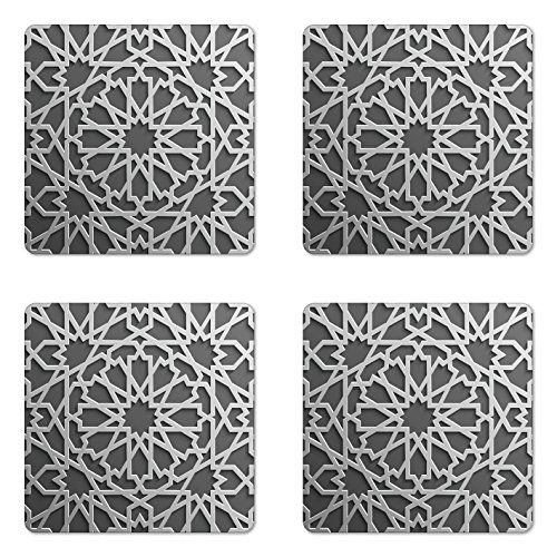 Design Mix Gloss - Ambesonne Moroccan Coaster Set of 4, Historical Moroccan Heraldic Empire Design Interlace Form with Mix of Star Flowers Print, Square Hardboard Gloss Coasters for Drinks, Grey