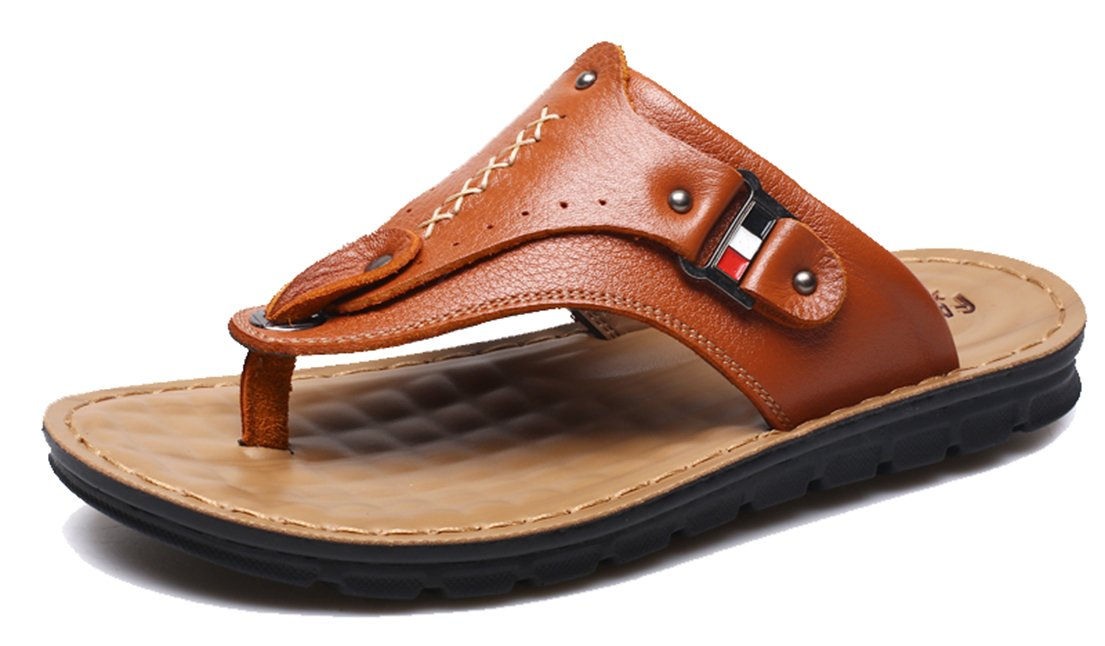 Seaoeey Men's Leather Slippers Flip Flops Beach Shoes Sandals Yellow Brown 10M