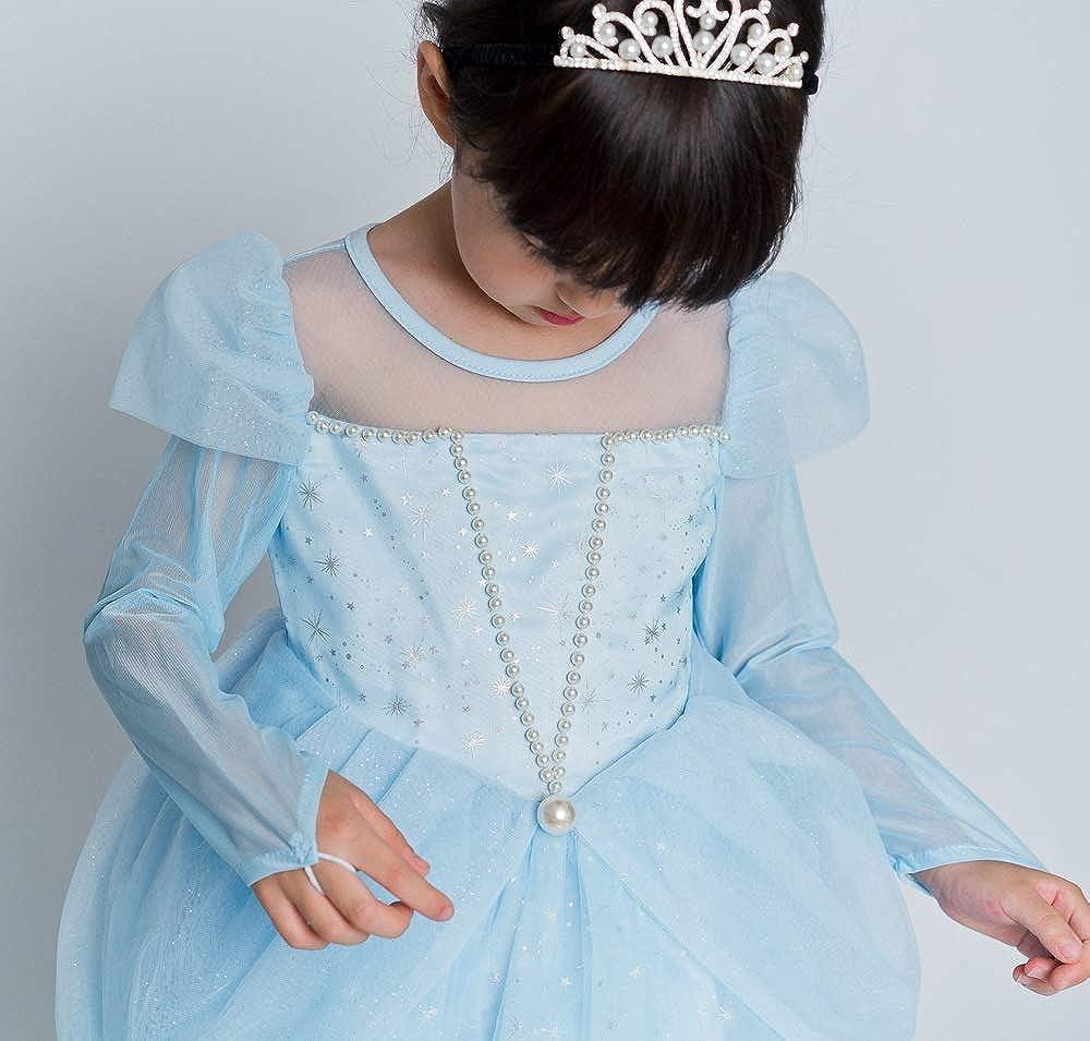 yeesn Costume da Principessa Aurora da Cenerentola con Perle per Feste di Halloween