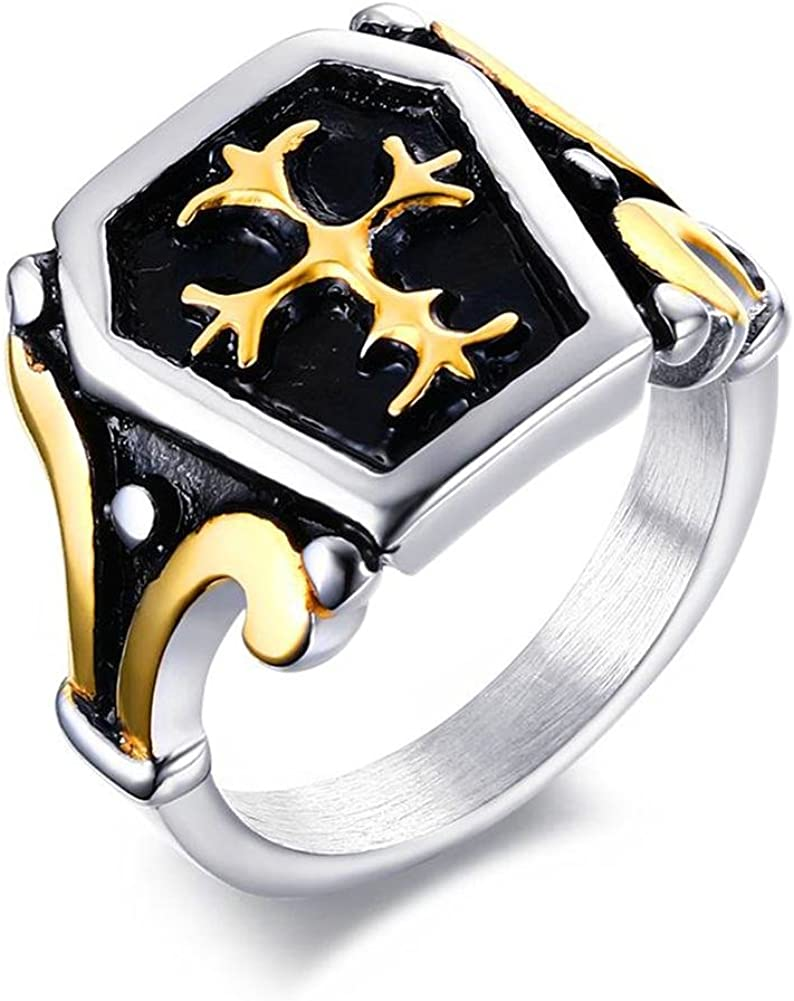 XUANPAI Vintage 18K Gold Plated Stainless Steel Knight Fleur De Lis Cross Ring for Men,Size 7-13