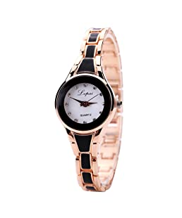 FifijuanC Mode Armbanduhr Damenuhr, Edelstahl Luxux Analoge Quarz Frauen Uhr, Lässig Günstig Damen Uhr