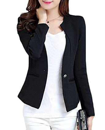 Nanquan Women Fashion Round Neck Slim One-Button Casual Pure Color Blazer  Black US 2XL b8a813c2d8