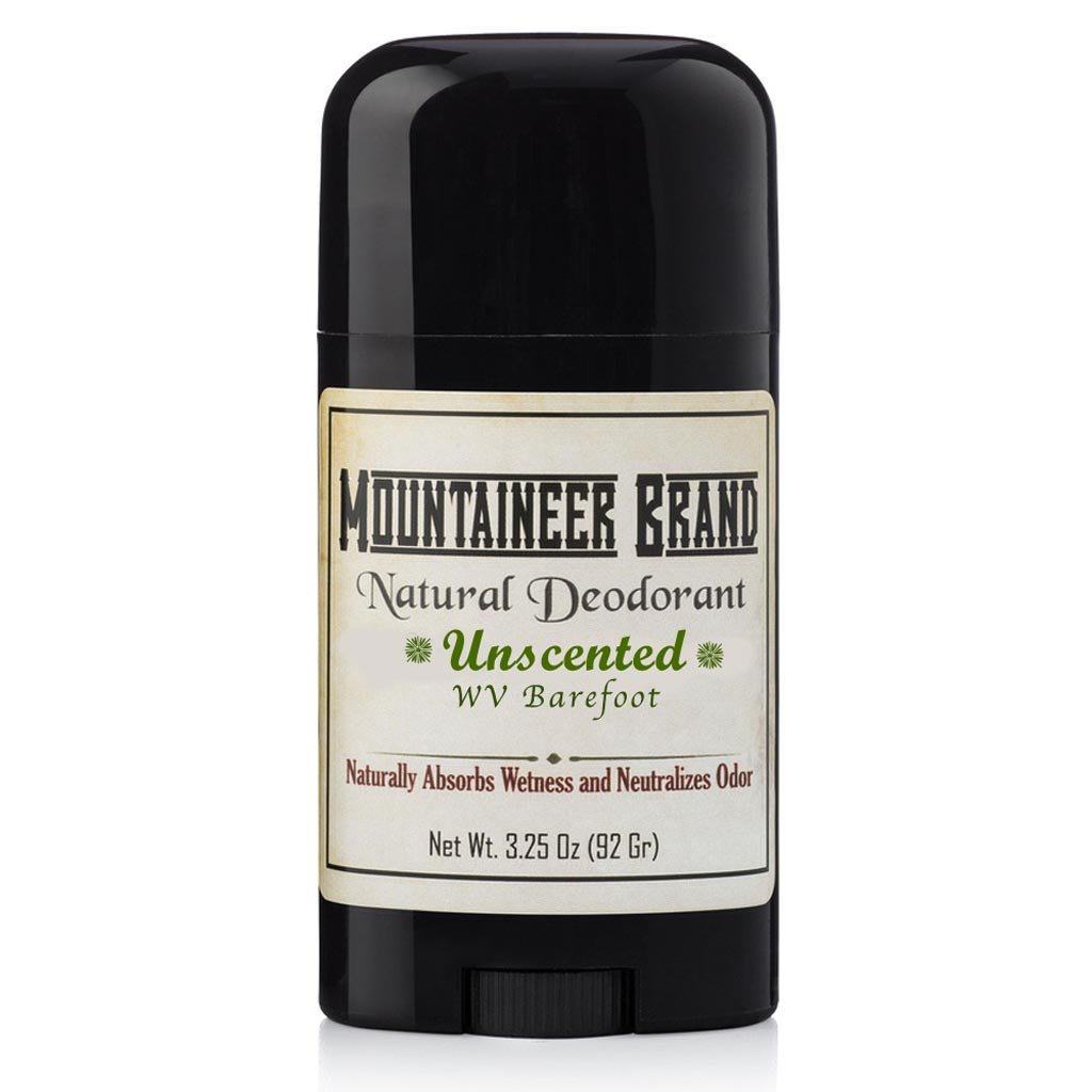 Mountaineer Brand All Natural Deodorant: Barefoot (Unscented) -- Aluminum Free for Men and Women 3.25 oz