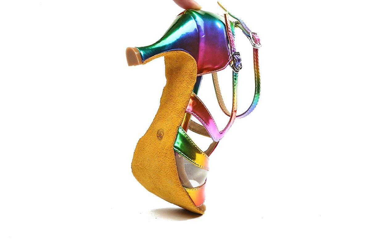 Qiusa GL249 Damen Knöchelriemen MultiFarbe Synthetische Mode Tanzschuhe Bunte Party Party Party Prom Sandalen UK 6 (Farbe   - Größe   -) e2baf5