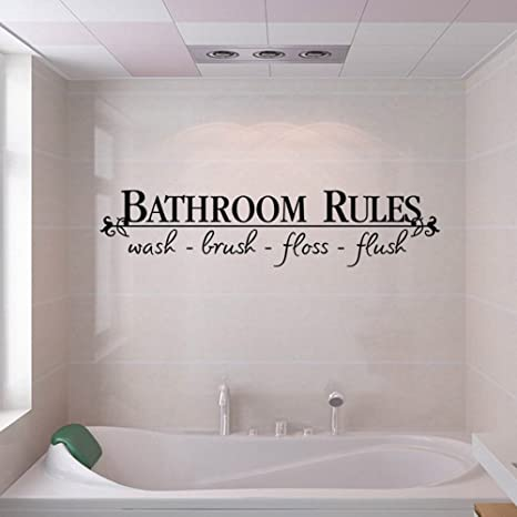 Amazoncom Huikeer Wall Stickers Wallpaper Bathroom Rules Art