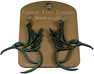 product image for Green Tree Jewelry Hummingbird Bird Earrings #1269 Teal