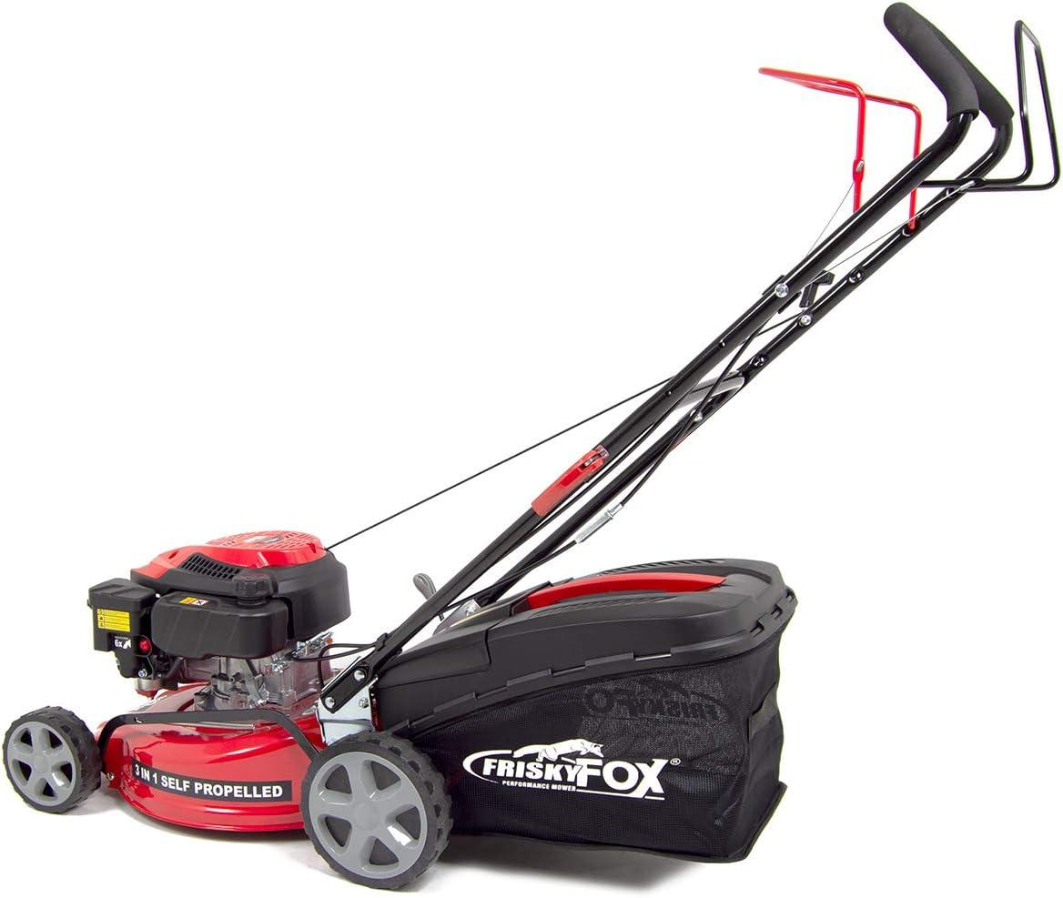 43cm Petrol Lawn Mower 127cc Self Propelled 4-Stroke Recoil Frisky Fox 17 1L Fuchs Engine Oil