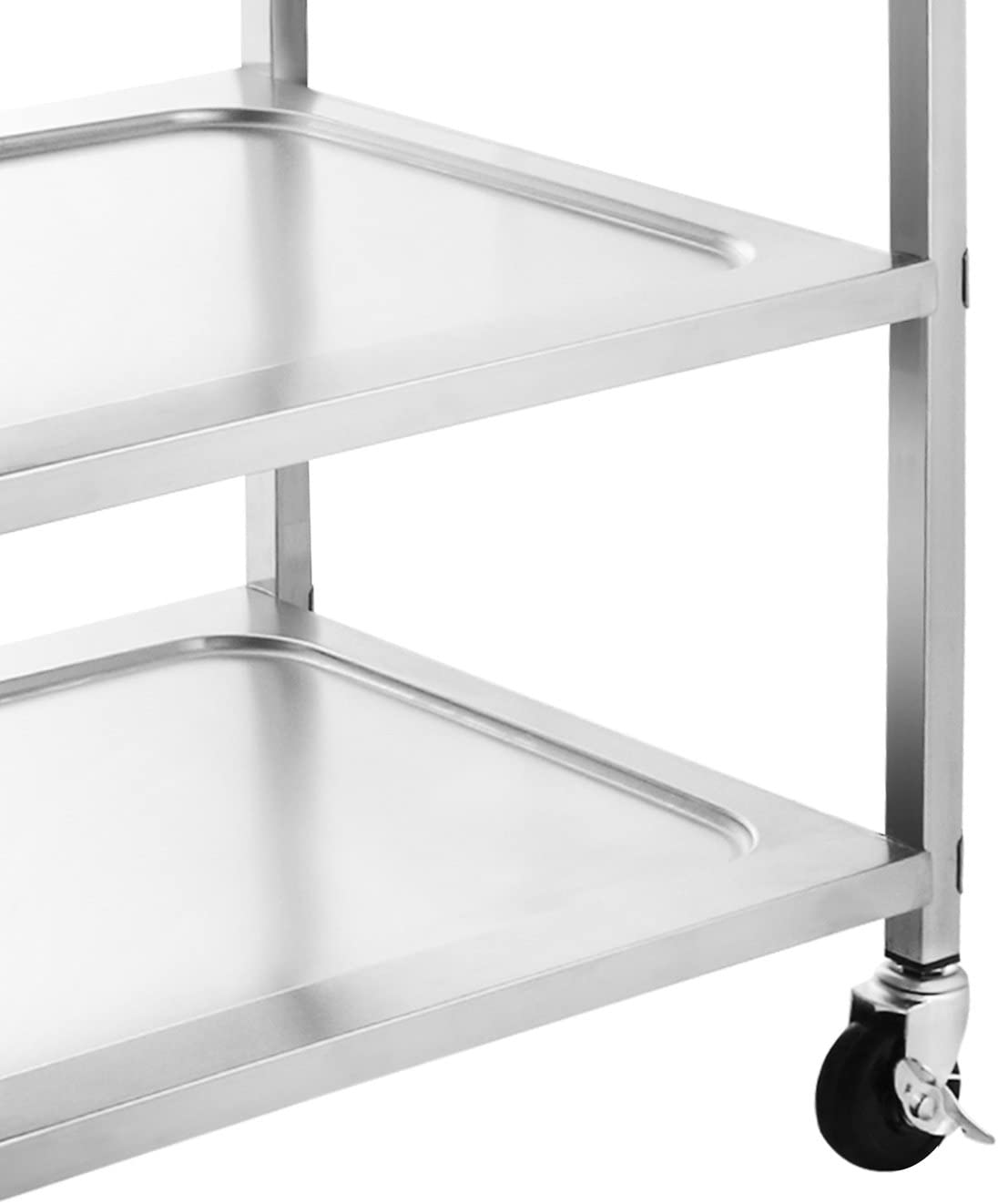 3-Shelf with Armrest LOVSHARE Utility Cart Kitchen Carts With Storage Stainless Steel All-Purpose Industrial Cart With Wheels