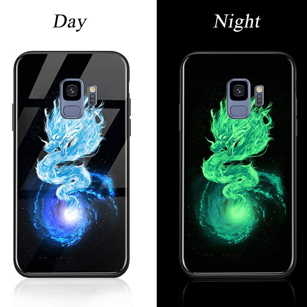 Ysimee Compatible avec Samsung Galaxy S9 Coque Cr/éatif Lumi/ère Lumineux Motif Housse en Silicone et Arri/ère en Verre Tremp/é Slim Souple Case Etui de Protection avec Antichoc Anti-Rayures,Fleur de Feu