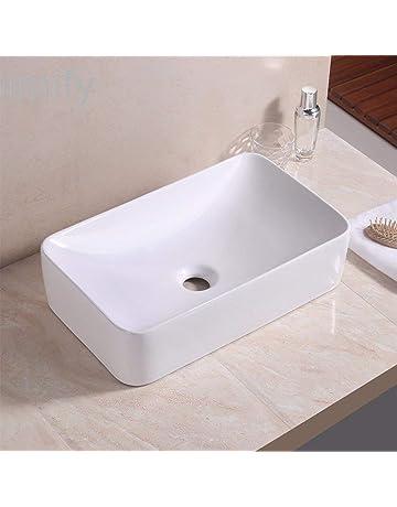vidaXL Lavabo avec Trop-Plein Lave-Mains Vasque /à Poser Monter Salle de Bain Int/érieur Salle dEau Cabine de Toilette Maison 46,5 x 18 cm C/éramique Noir