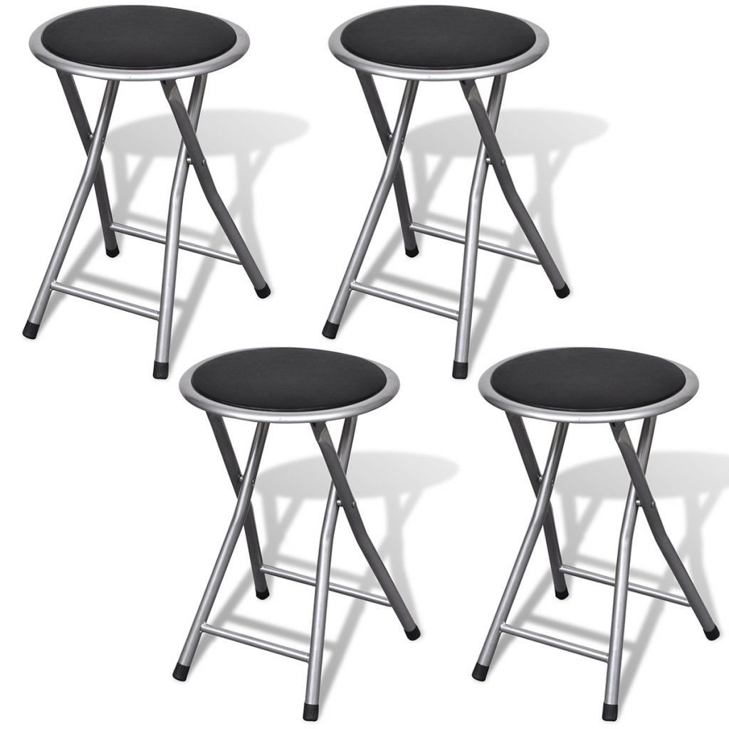Festnight 4 Packs Folding Stool Collapsible Barstool Chairs with Black Leather Cushioned Seating Top for Outdoor Indoor (Black) by Festnight