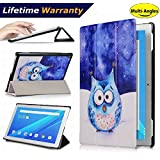 Lenovo Tab 4 10 Case(2017 Release) - DHZ Multi-Viewing Ultra Lightweight Smart Cover Slim Tri-fold Stand Leather Case for Lenovo Tab4 10 inch tablet(2017 version) with Auto Wake / Sleep,Cute Owl