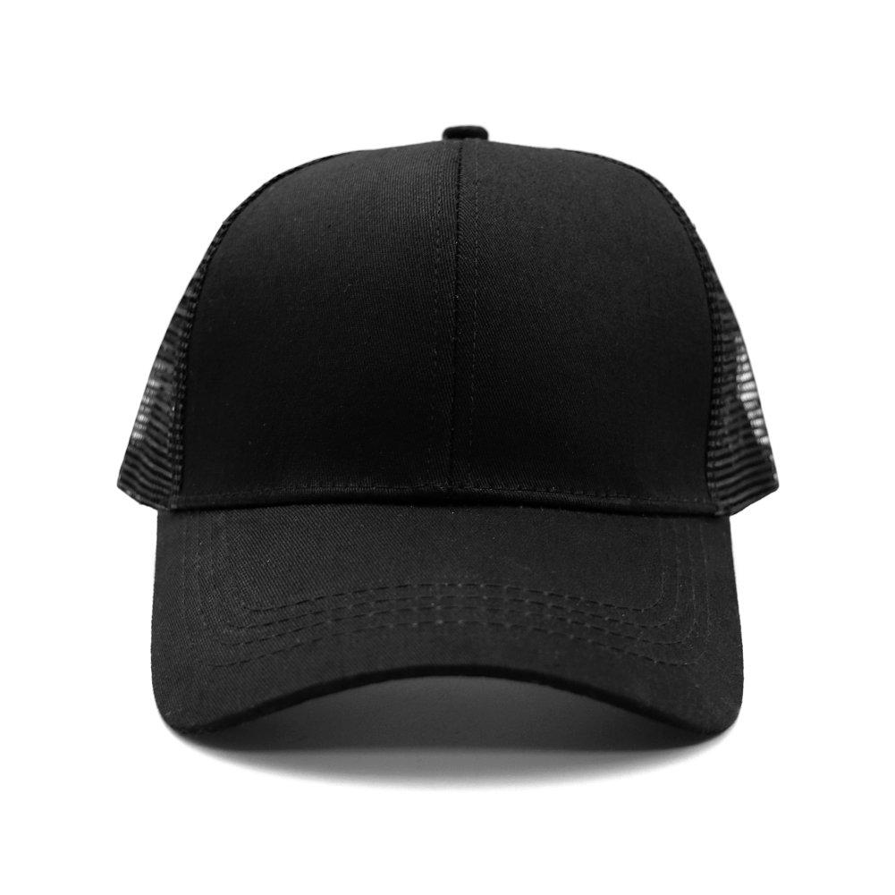 2a254b420 Womens Ponytail Messy High Buns Trucker Ponycaps Plain Baseball Visor Cap  Dad Hat Adjustable Snapback