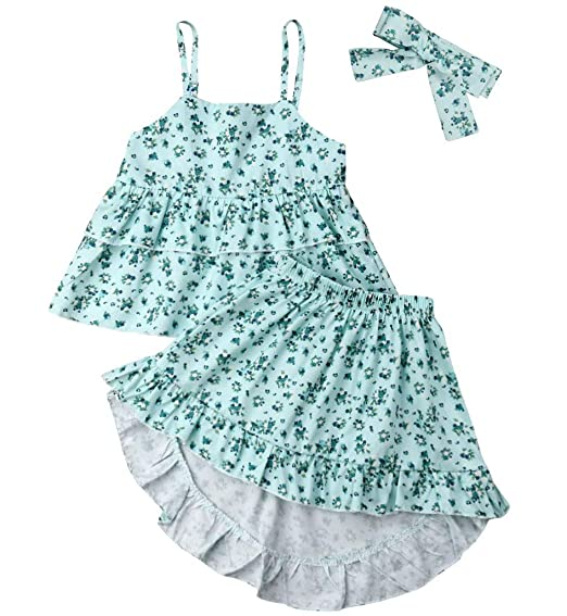 9e703978 Kids Infant Baby Girls Clothes Set Princess Outfits Sleeveless Tank Vest  Ruffle Tops +Floral Party