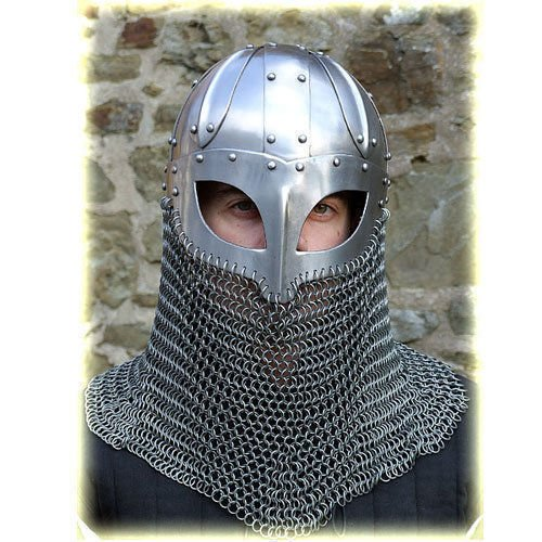 QUALITYMUSICSHOP Viking Helmet Battle Armor 18G Steel and Chainmail