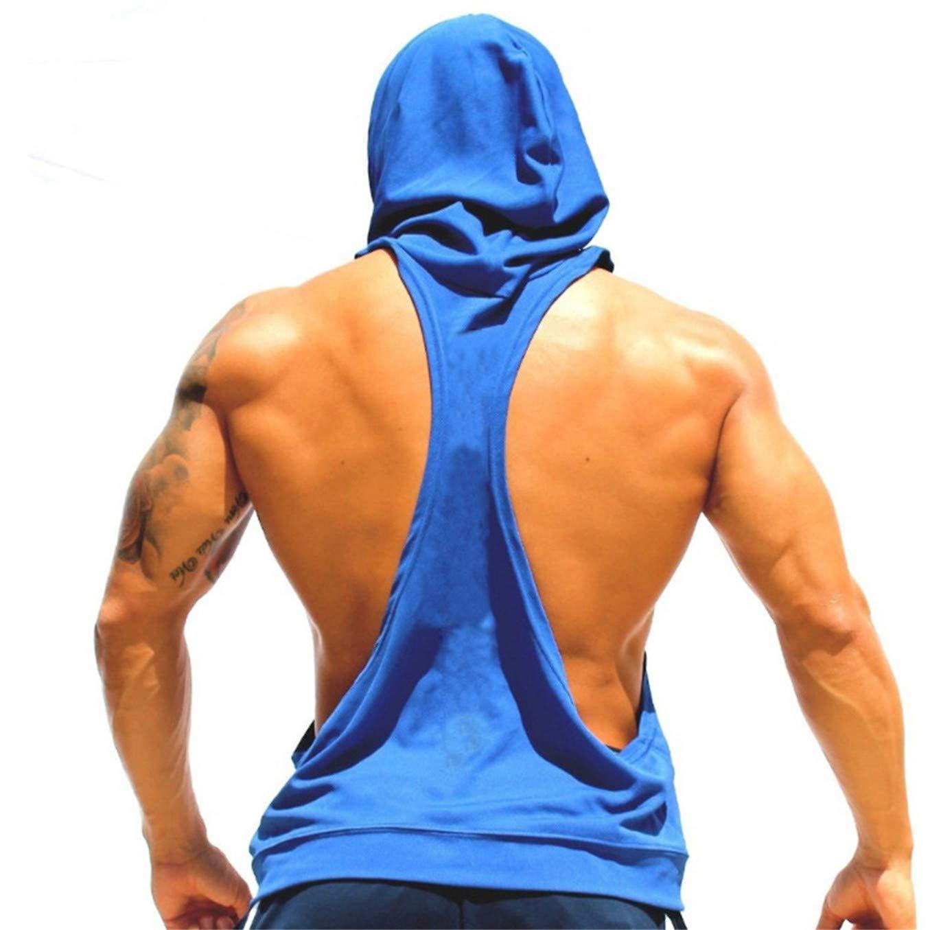 TIFENNY Men Fashion Hooded Vest Sling Running Yoga Gym Fitness Sport Shorts Breathable Sleeveless Tops Blue