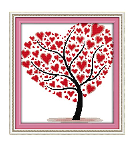 Stamped Cross Stitch Kits for Beginners Acurate Pre-Printed Counted Cross Stitch -Love Heart -
