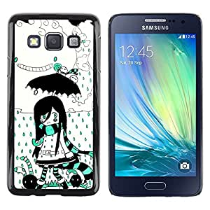 Be Good Phone Accessory // Dura Cáscara cubierta Protectora Caso Carcasa Funda de Protección para Samsung Galaxy A3 SM-A300 // Girl Umbrella Magic World Cartoon Drawing