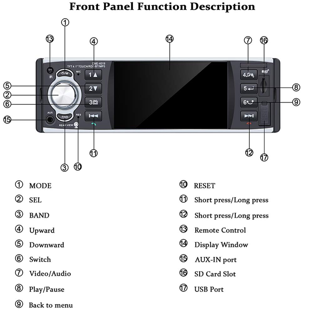 Manos Libres Est/éreo de Coche Llamadas Manos Libres 4 Pulgadas HD est/éreo,de Pantalla de Espejo para Android tel/éfono 1 DIN USB//SD//FM//RDS con c/ámara Trasera PolarLander Autoradio Bluetooth