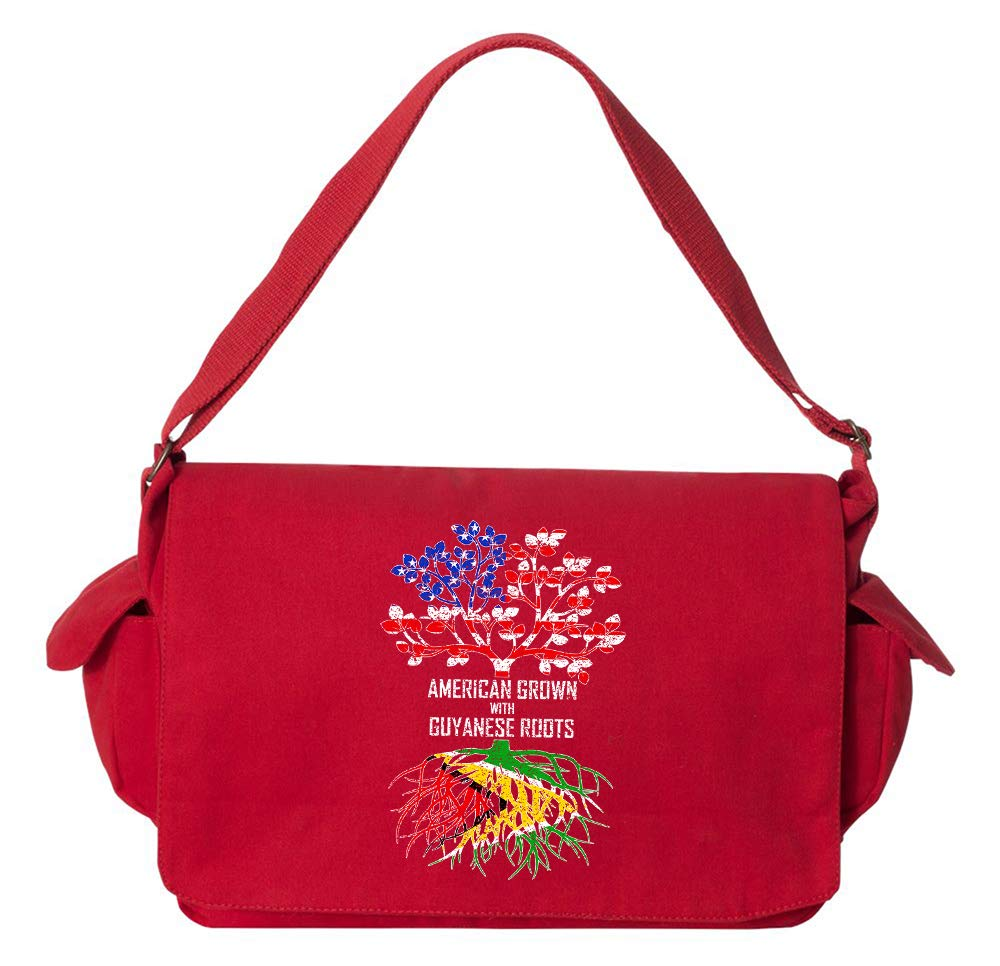 Tenacitee American Grown with Guyanese Roots Navy Brushed Canvas Messenger Bag